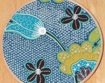 Eclectic Blue and Green Tulip Flowered Embellished Fabric Hoop Art