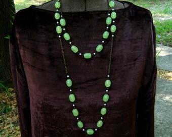 Vintage Art Deco Revival Necklace Double Chain Flapper Lime Green Beads