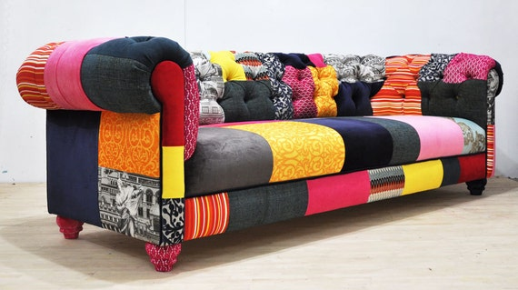 color patch chesterfield patchwork sofa. Black Bedroom Furniture Sets. Home Design Ideas