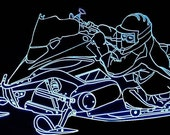 "2007 Snowmobile Acrylic Lighted Edge Lit LED Sign 13""  07 Full Size USA Original"