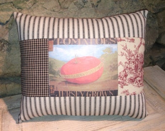 Tomatoes, Jersey Grown country pillow