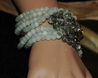SALE, Bib Bracelet, Multi strand White and Grey bracelet, chunky Bracelet, Gift for her, mother's day gift, everyday use, silver magnetic cl
