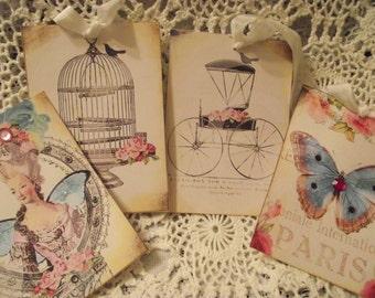 Four Beautiful Gift Tags Paris Marie Antoinette Shabby Chic Style Glittered Rhinestones Seam Binding Ribbon
