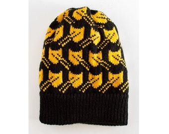 Black Pussyhat Resist Laser Cat Hat, Adult S M L. Mens Womens Unisex Knit Hat, Cat Hat, Black Beanie, Cat Print