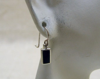 Petite Sterling and Onyx Pierced  Earrings