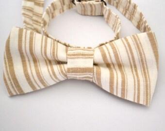 Bowtie- Neutral Stripe, Tan Bow Tie, Cream Bow Tie, Off-White Bow Tie, Wedding Bow Tie, Groomsmen Bow Ties, Adjustable Bow Tie