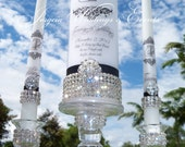 Pure Diamond  Damask Unity Candle Set.....Holders included