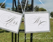 Mr. And Mrs. Bling wedding Chair Signs