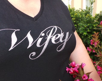Embroidered Wifey T-shirt, Engagement Gift