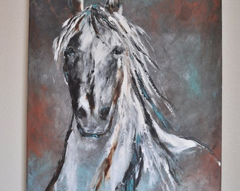 Sale! Original Contemporary Western Horse Art in white and black beautiful modern original painting Cowboy Western art