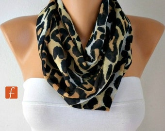 Leopard Print Infinity Scarf ,Cowl Scarf Circle Scarf Loop Scarf Gift  Ideas for Her, Women's Scarves Fashion Accessories, best selling item