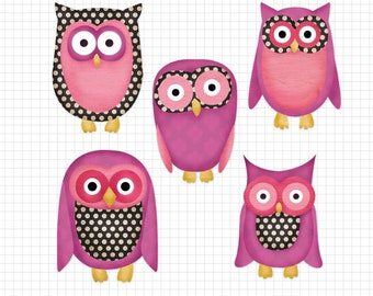 Digital Scrapbook Elements Girly Owl Animal Characters Royalty Free Clipart