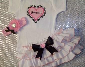 Sweet Heart 3 pcs Set / Valentine's Day / Bodysuit + Ruffle Bloomer + Headband / Precious / Girl / Infant / Baby/ Toddler/Boutique Clothing