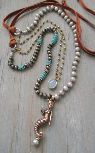 Long Mermaid Knotted Necklace Bronzed Beauty Artisan