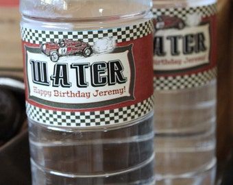 Vintage Racing Car Water Bottle Labels - INSTANT DOWNLOAD - Editable & Printable Birthday Party Decorations by Sassaby