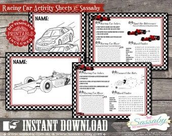 Racing Car Activity & Coloring Sheets/Placemats - INSTANT DOWNLOAD - Birthday Party Decorations by Sassaby