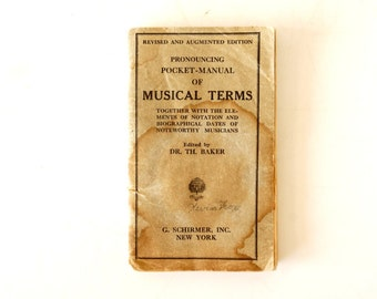 """Vintage """"Pronouncing Pocket Manual of Musical Terms"""" Book (c.1936) - Collectible Book, Musical Ephemera, Collage Supply"""