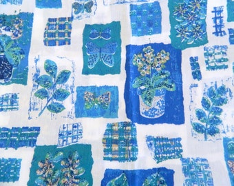 1970s Fabric Remnant ... Vintage Cotton Moth and Plant Print ... 1 Yard