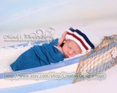 Crochet Newborn Baby Sailor Hat 0-1, 2-3 and 3-6 mo - July 4th, White Red Blue Beanie, Newborn Photo Prop or perfect gift for Baby Shower