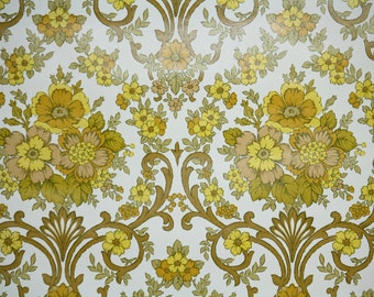 Retro Wallpaper by the Yard 70s Vintage Wallpaper – 1970s Yellow and Gold Floral Damask