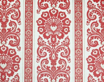 Retro Wallpaper by the Yard 70s Vintage Wallpaper – 1970s Red and White Damask Stripe