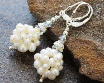 White Pearl Earrings | Freshwater Pearl Clusters, Sterling Silver & Swarovski | White Classic Wedding Earrings | Wedding Jewelry