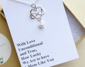 Sterling Silver Infinity Heart Pearl Necklace with Mother's Gift Wording... Pendant... Mother of the Bride - Mother of the Groom