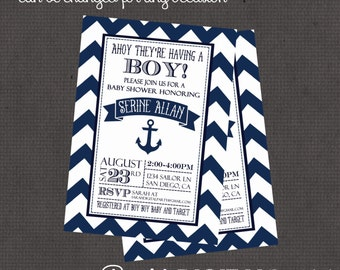 Ahoy Sailor Invitation 4x6 or 5x7 digital you print your own- Design 145