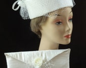 Bridal Pillbox  Ivory Pillbox Hat with Clutch Matching