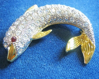 Awesome Paved Set Rhinestone Dolphin Brooch Signed