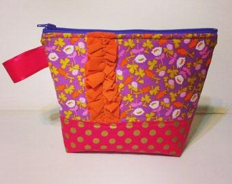 Zipper Pouch Briar Rose fabric Gold Dots on pink flat bottom bag ruffled bag