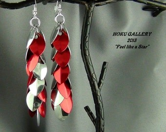 """Aluminum, and Red Anodized Aluminum Dragon Scales, Aluminum Rings, - 4.5""""  Earrings - Hand Crafted Artisan Jewelry"""