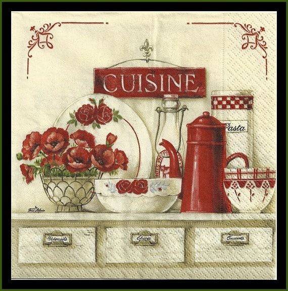 cuisine four napkins for decoupage tissue napkins poppies red On cuisine papera