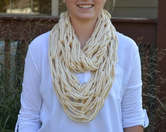 Tan Knitted Infinity Scarf