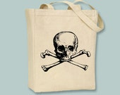 Vintage Skull and Crossbones NATURAL or BLACK Canvas Tote - Selection of Sizes Available