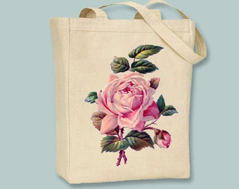 Vintage Pink Rose Illustration Canvas Tote  - Selection of  sizes available