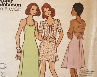 Vintage 1970's Butterick Young Designer Betsey Johnson Alley Cat Back Tie Dress Mini or Long and Jacket 3116  Sewing Pattern Size 9 Bust 33