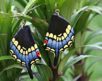 Black Swallowtail Butterfly Wings Earrings - Carved Walnut Hardwood & Hand Painted - 14 Karat Gold Filled Findings