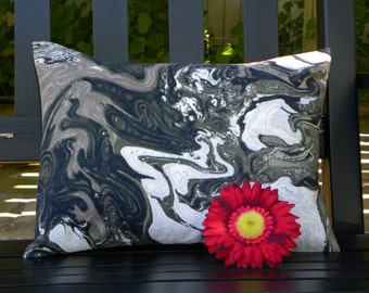 Throw Pillow Cover - Vintage Bloomcraft Canvas - Black, White and Gray Smoky Marble Swirl - 12 x 16