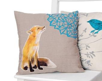 Martha Fox Cushion - handmade applique organic cotton cushion