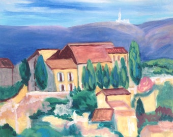 Original Painting Reminiscent of European Hillside Village
