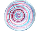 GROWTH RINGS original abstract watercolor painting in blues and pinks