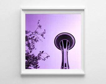 Seattle Space Needle Purple Home Decor - Seattle Art, Washington State Purple Wall Art, Pacific Northwest Square Art Print - FREE SHIPPING
