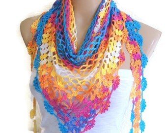 Crocheted Multi Color  Lace Scarf ,Holiday Accessories,  fashion, 2014, Mothers day,  scarves