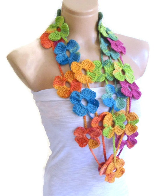 Crochet Lariat necklace Flower Lariat Scarf multicolor scarf