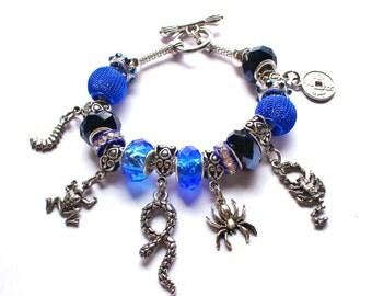Magic Bleeds Inspired Charm Bracelet - Ritual - Disease - Creatures - Kate Daniels Series - Theme Bracelet - Euro Style - Book Swag