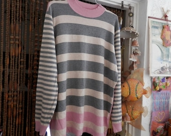 Unusual Striped Knit Sweater / Tunic in Ivory, Silvery-Gray & Pink, Vintage - Large to XLarge