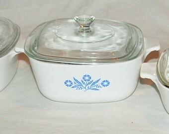 Vintage Blue Cornflower Bakeware Set (Lot of 3)