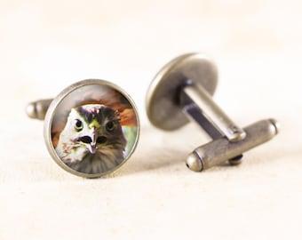 Hawk Bird Cuff Links - Bronze Cufflinks Men, Hawk Cufflinks, Bird of Prey, Bird Photography Cufflinks, Natural History, Bronze Bird Jewelry