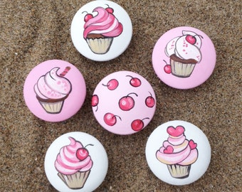 Cupcake and Cherry Drawer Pulls / Dresser Knobs / Closet Handles / Hand Painted for Girls, Nursery Rooms